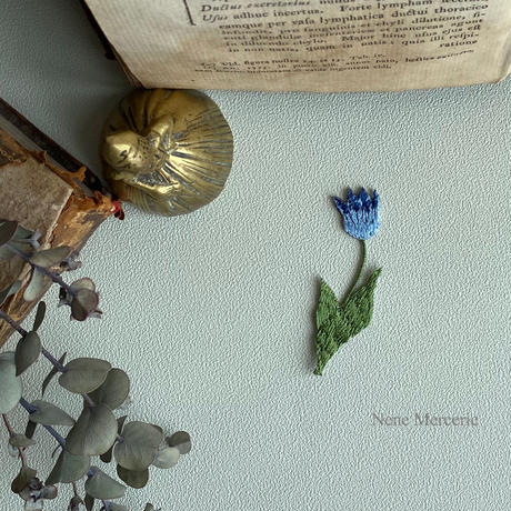チューリップ/ブルー/刺繍アイロンワッペン