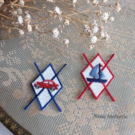 アーガイル/くるま/刺繍アイロンワッペン