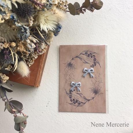 リボン/ブルー/刺繍アイロンワッペン 2枚セット