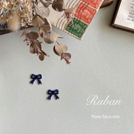 リボン/ネイビー/刺繍アイロンワッペン 2枚セット