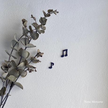 音符ネイビー/ 2種類2枚セット/刺繍アイロンワッペン