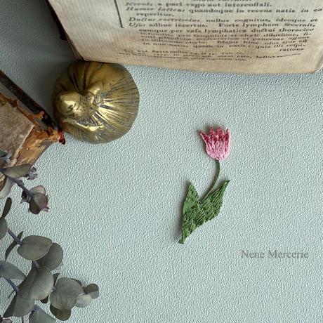 チューリップ/レッド/刺繍アイロンワッペン
