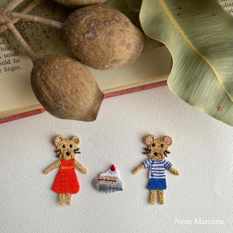 ネズミの男の子ポアロくん/1枚/刺繍アイロンワッペン