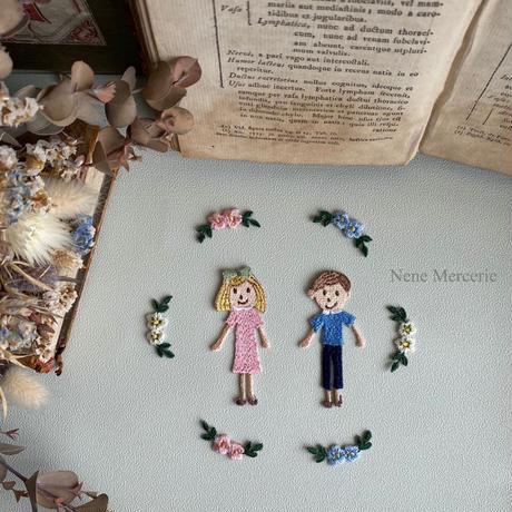 「カギカッコのお花」 3色ワッペン/3枚セット/刺繍アイロンワッペン