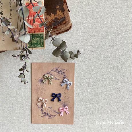 リボン/5色/刺繍アイロンワッペン 5枚セット