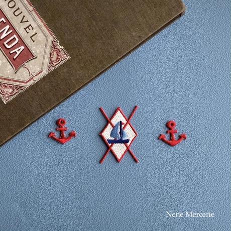 イカリ/レッド/ 2枚セット/刺繍アイロンワッペン