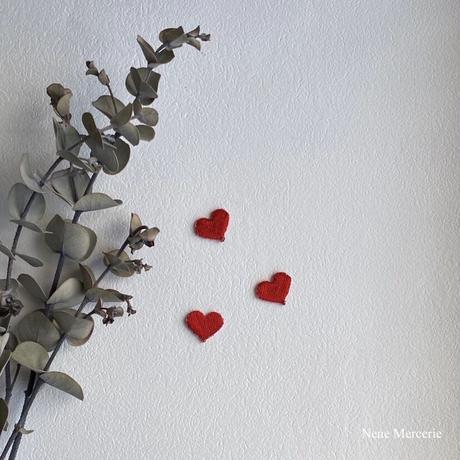 ハート「LOVE」/ 3枚セット/刺繍アイロンワッペン