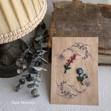 ワイルドフラワー/ピンクブルー/2枚セット/刺繍アイロンワッペン