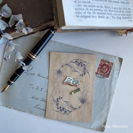 文具セット/ 本と鉛筆の2枚セット/刺繍アイロンワッペン
