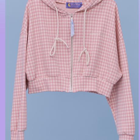 Check Hood Zip (Pink)