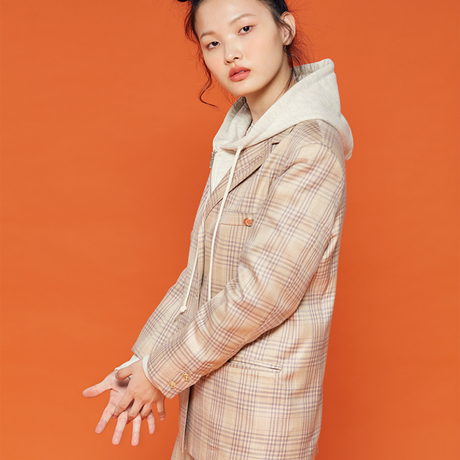 19F Check Jacket (Beige)