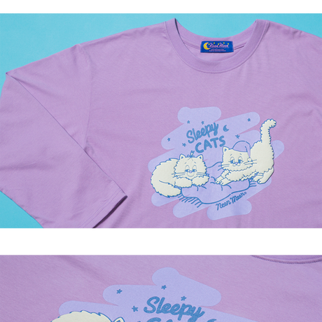 Sleepy Cat T-shirt (Purple)