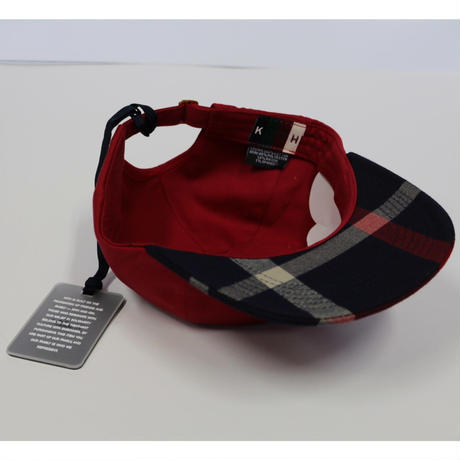KITH CREST FLAT DAD HAT Navy/Red キス チェック キャップ