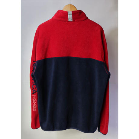 【古着】NAUTICA HALF ZIP FLEECE Red/Navy Size XL