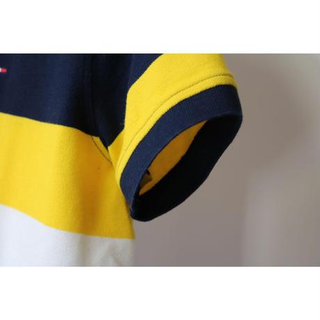 【古着】TOMMY HILFIGER RUGBY SHIRT Yellow/ Navy Size Kids L