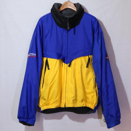 【古着】NAUTICA DOWN FLEECE REVERSIBLE JACKET Blue/Yellow/Grey Size XL