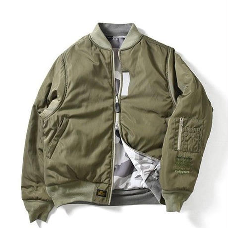 Lafayette CAMO REVERSIBLE FLIGHT JACKET MILITARY GREEN <M>
