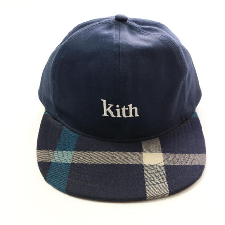KITH CREST FLAT DAD HAT Navy/Blue キス チェック キャップ