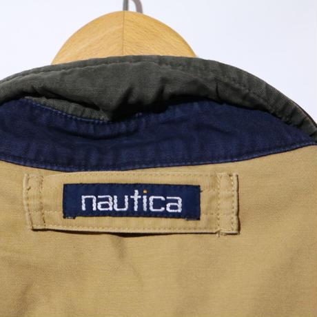 【古着】NAUTICA FLIGHT JACKET LEATHER COLLAR Beige/Green Size M