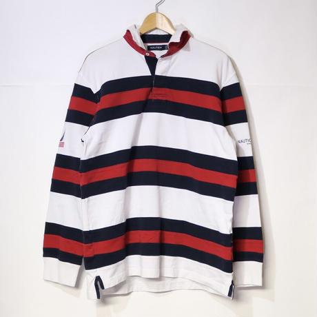【古着】NAUTICA RAGBY SHIRT White/Red/Navy Size L