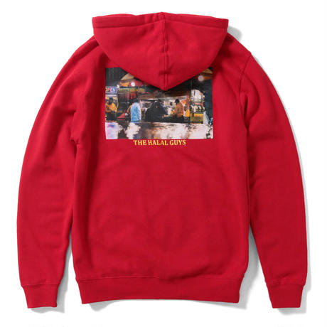 LFYT × THE HALAL GUYS VENDORS HOODED SWEATSHIRT RED Size M