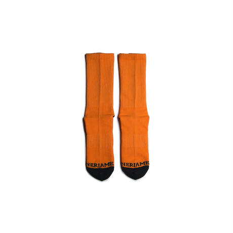 "HAPPINESS ""幸福快楽"" SOCKS (NEON ORANGE)"