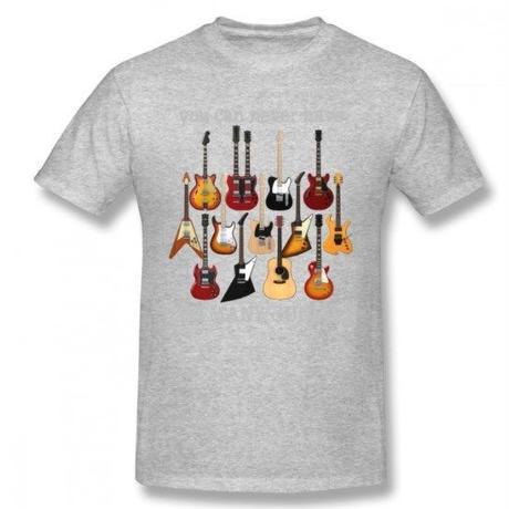 ギター名器 集合 Tシャツ ギタリスト  レスポール フライングV GS レスポール ファイヤーバード  ストラト ユニセックス 男女兼用  グレイ