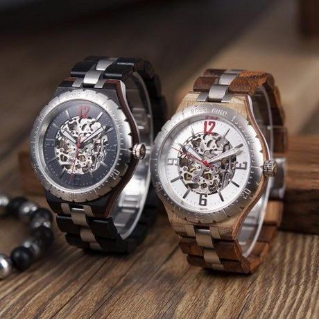 限定生産【BOBO BIRD】ボボバード メンズ 男性 木製腕時計 高級感 機械式 防水 スケルトン【自然に優しい天然木】限定・希少品