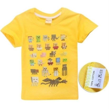 マインクラフト Minecraft  子供服  モンスター キャラクター プリントTシャツ ユニセックス カジュアル半袖Tシャツ トップス  マイクラ  イエロー