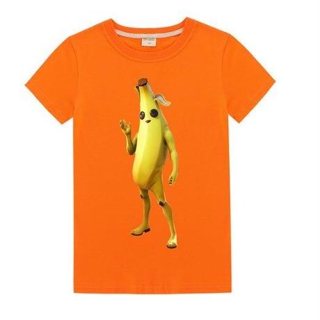 フォートナイト fortnite 子供服  バナナスキン ピーリーTシャツ ユニセックス カジュアル半袖Tシャツ トップス 10色展開 バトルロワイヤル   オレンジ