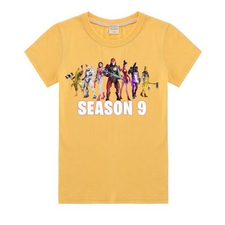 フォートナイト fortnite 子供服  シーズン9 プリントTシャツ ユニセックス カジュアル半袖Tシャツ トップス   イエロー
