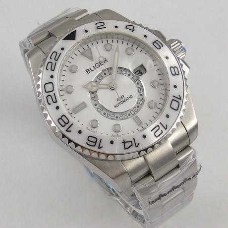BLIGER 自動巻き腕時計 ホワイトセラミックベゼル ヨット マスター 風 白 GMT ステンレスストラップ