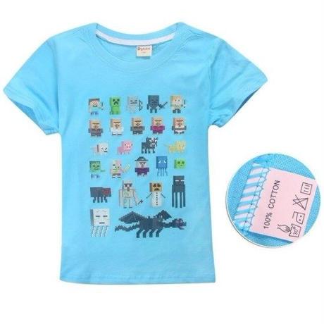 マインクラフト Minecraft  子供服  モンスター キャラクター プリントTシャツ ユニセックス カジュアル半袖Tシャツ トップス  マイクラ  ライトブルー