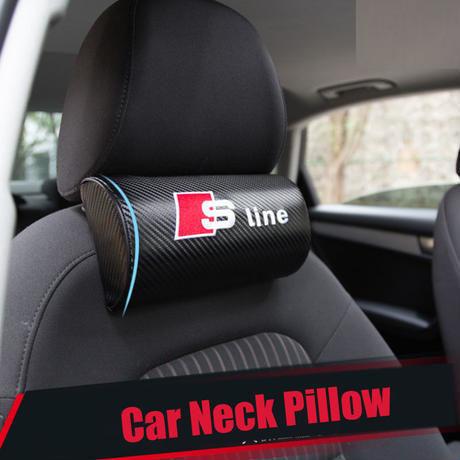 アウディ ネッククッション Sline カーボンファイバー 枕 Audi A1 A3 A4 A6 A8 TT Q3 Q5 Q7 S2 S4 S6 S8 h00331