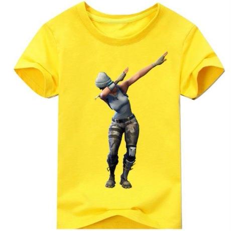 フォートナイト fortnite 子供服  DAB プリントTシャツ ユニセックス カジュアル半袖Tシャツ トップス 9色展開 バトルロワイヤル  イエロー