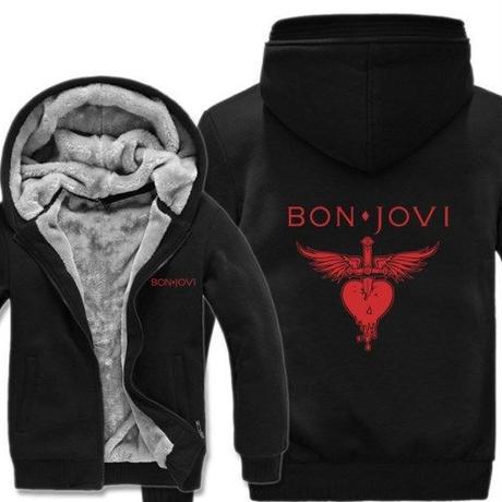 高品質  ボンジョビ Bon Jovi   あったかい フリースパーカー ジップアップ  衣装 コスチューム 小道具 海外限定  コスプレ  11