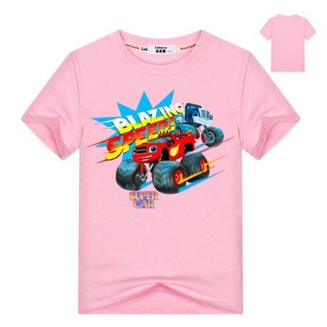 ブレイズ アンド ザ モンスターマシーンズ  子供服  プリント Tシャツ 半袖 トップス  Blaze and the Monster Machines グッズ ピンク