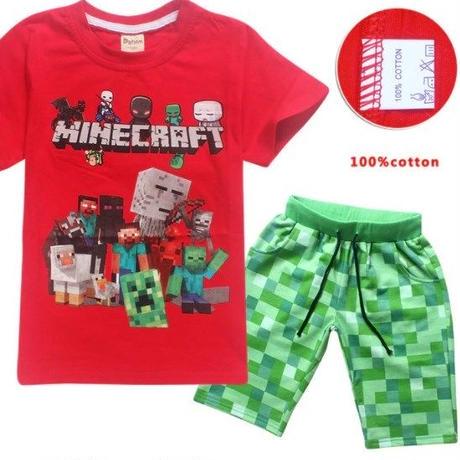 マインクラフト Minecraft  子供服  半袖パジャマ上下  ユニセックス  カジュアル半袖Tシャツ トップス  マイクラ   レッド