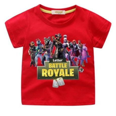 フォートナイト fortnite 子供服  プリントTシャツ ユニセックス カジュアル半袖Tシャツ トップス  レッド