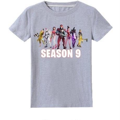 フォートナイト fortnite 子供服  シーズン9 プリントTシャツ ユニセックス カジュアル半袖Tシャツ トップス   グレイ