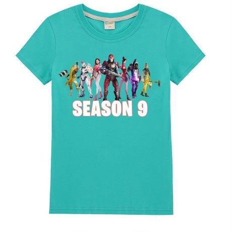フォートナイト fortnite 子供服  シーズン9 プリントTシャツ ユニセックス カジュアル半袖Tシャツ トップス   ライトグリーン