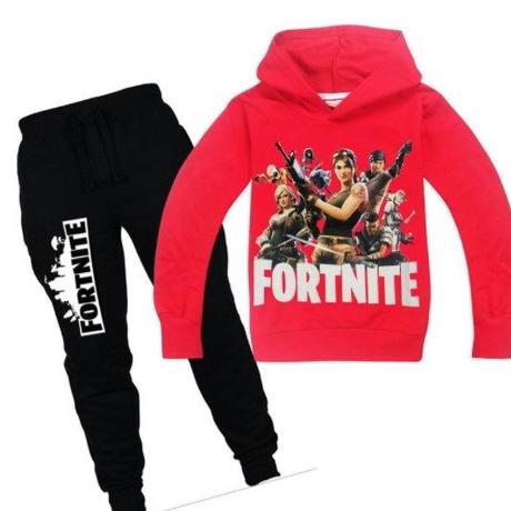 フォートナイト fortnite 子供服  スウェット 上下セット  ユニセックス カジュアル半袖Tシャツ トップス  パジャマ  レッド