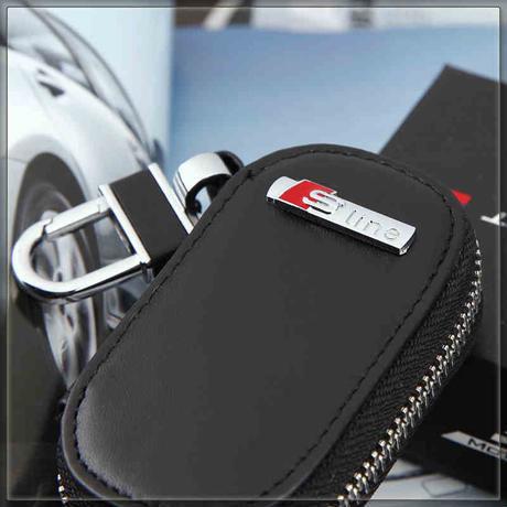 アウディ キーケース キーバッグ Audi A1 A3 A4 A6 A8 TT Q3 Q5 Q7 Sline エンブレム 本革 レザー h00304