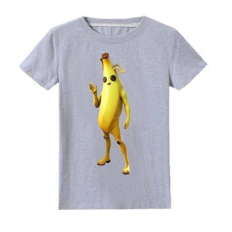 フォートナイト fortnite 子供服  バナナスキン ピーリーTシャツ ユニセックス カジュアル半袖Tシャツ トップス 10色展開 バトルロワイヤル   グレイ