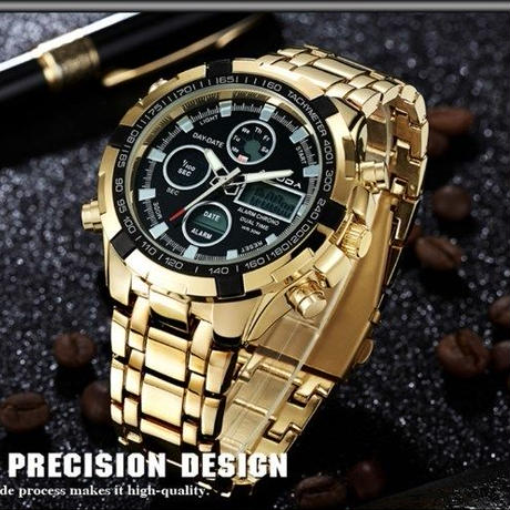 メンズ腕時計 高級ブランド Amuda ゴールド スポーツ クォーツ デュアルタイム 海外人気ブランド