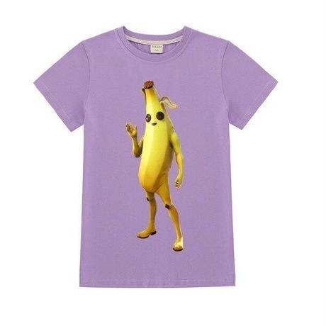 フォートナイト fortnite 子供服  バナナスキン ピーリーTシャツ ユニセックス カジュアル半袖Tシャツ トップス 10色展開 バトルロワイヤル   パープル