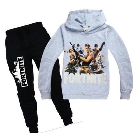 フォートナイト fortnite 子供服  スウェット 上下セット  ユニセックス カジュアル半袖Tシャツ トップス  パジャマ  グレー