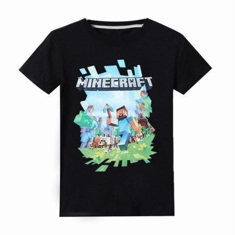 マインクラフト Minecraft  子供服  ロゴデザイン Tシャツ ユニセックス カジュアル半袖Tシャツ トップス  マイクラ  ブラック