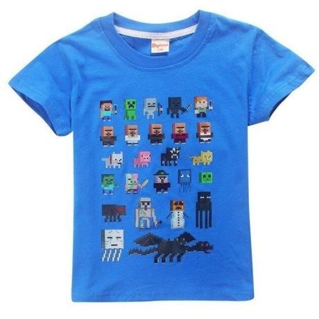 マインクラフト Minecraft  子供服  モンスター キャラクター プリントTシャツ ユニセックス カジュアル半袖Tシャツ トップス  マイクラ  ブルー