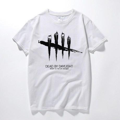 デッドバイデイライト メンズ 黒と白のストライプ Tシャツ 半袖 8/19 7-4